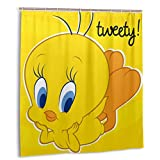 Stars.YingJ 66x72 in T-Wee-ty Bird Opaque Shower Curtain with Plastic Hooks Waterproof Polyester Curtains Set for Bathroom Decor