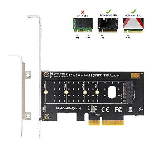 QNINE NVME PCIe Adapter, M.2 PCIe NVMe SSD M Key zu PCI Express 3.0 x2 Erweiterungskarte mit Low Profile Bracket für PC Desktop