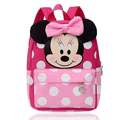 BKJJ Mickey Zaino Scuola Elementare Bambina Zainetto Rosa Disney Minnie Zaino Scuola Elementare Bambina, Adatto Per Zaino Per Bambini e Per La Scuola o In Viaggio, Molto Spazio(rosa rossa)