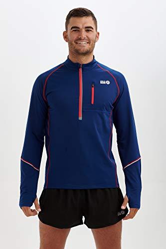 Time To Run T-Shirt Termica da Uomo da Corsa a Maniche Lunghe Tasce e con Zip sullo Scollo Thermo Pull On Blue Notte Grande