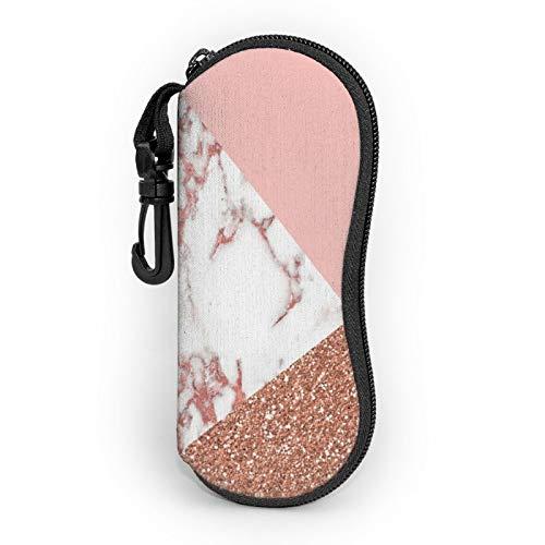Gafas de sol Funda suave ultra ligera portátil neopreno cremallera gafas caso con clip para cinturón, Purpurina de mármol blanco rosa, Talla única