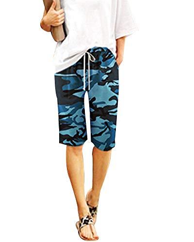 KasenA Mujer Shorts Rectos Suelto Camuflaje Estampado Cordón Pantalones Harén Cortos