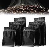 Bolsas de café de 8 oz con válvula de desgasificación y bolsas de almacenamiento con cierre hermético Bolsas herméticas para granos de café 50 paquetes para uso comercial (negro)