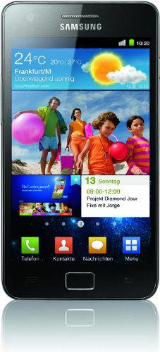 Samsung Galaxy S II (i9100) DualCore Smartphone (10.9 cm (4.3 Zoll) Super-Amoled Plus Display, Android 2.3, 8 MP Full-HD Kamera, 2 MP Frontkamera) [EU-Version] schwarz