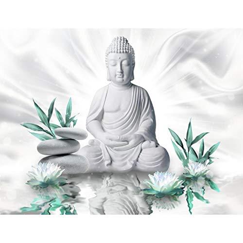 Runa Art Fototapete Buddha Blumen Zen Modern Vlies Wohnzimmer Schlafzimmer Flur - made in Germany - Weiss Türkis 9289010b