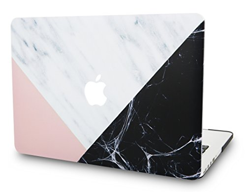 "KECC Laptop Case for MacBook Pro 15"" (2019/2018/2017/2016) Plastic Hard Shell Cover A1990/A1707 Touch Bar (White Marble with Pink Black)"