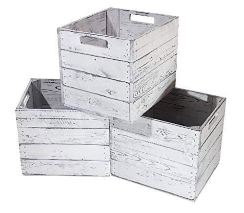 moooble 6er Holzkiste Vintage für Kallax Regale weiß/Weiss 33cm x 37,5cm x 32,5cm Einlagekiste Einsätze Shabby chic Weinkiste Expedit Einsatz Aufbewahrungskiste Obstkisten DIY