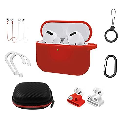 AIYAAIYA Estuche para Airpods Pro,Kit de Accesorios 9 en 1 Airpod Pro,Funda Protectora de Silicona para Apple Airpods Gen 3 ,con Soporte de Reloj/Llavero/Anillo/Correa/Caja para Accesorios (Rojo)
