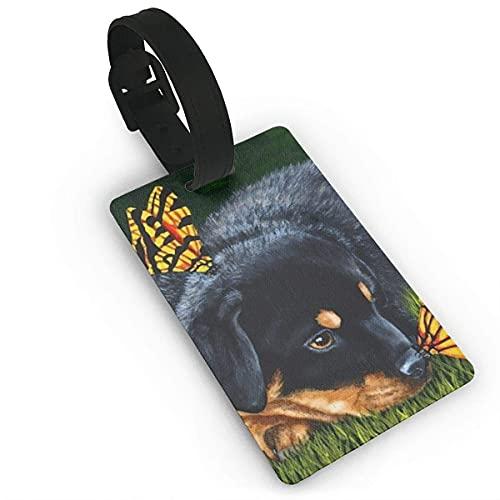 Etiquetas de Equipaje Rottweiler Encanto de Perro Lindo Mariposas monarca Etiqueta de Nombre de PVC Impresa Etiquetas de identificación de identificación de Maleta de Viaje