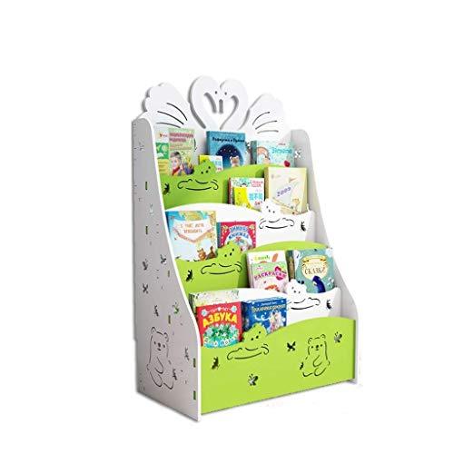 Estantería Libros Misceláneas Estante de Almacenamiento Estantería para Niños Parque Infantil Libro de Imágenes para Niños Álbum Soporte de Exhibición Estante de Almacenamiento Verde 60X33X80Cm, B-S