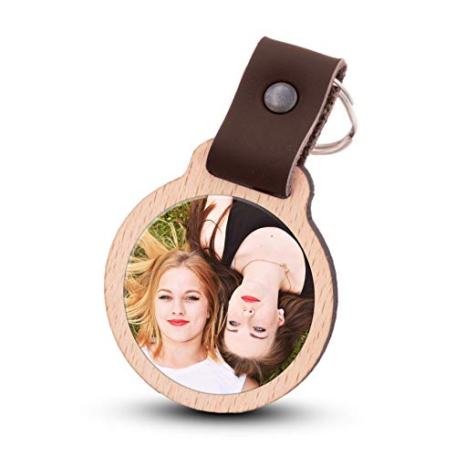 Wogenfels - Schlüsselanhänger selbst gestalten mit Fotodruck | Echtes Holz mit Lederband | kreative Geschenkidee Geschenk für Damen/Frauen (Dunkelbraun)