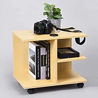 HOMY CASA End Table Nightstand with Moveable Wheels Modern Wooden Storage Shelf Printer Stander Bedside Tables Side Cabinet Irregularity 3 Tier, Beech