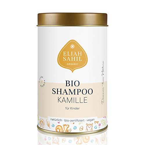 Bio Kindershampoo von ELIAH SAHIL I Hautfreundliches Kamile Pulver Shampoo I Für Mädchen und Jungen I Haut und Haar I 100% Bio zertifizierte Naturkosmetik I Vegane Kosmetik I 100 Gramm ca. 30 Wäschen