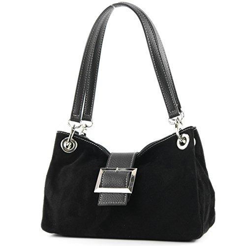 ital. Ladies Handbag Tote Satchel leather bag Suede Small TL02, Colour:black
