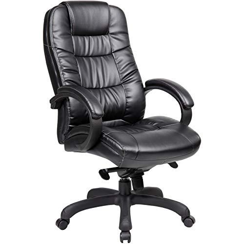 Office Furniture Online Höhenverstellbarer Chefsessel mit Bezug aus Lederfaserstoff   Parma   Schwarz