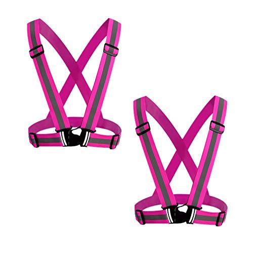 GOZAR 2 Piezas Alto Visibilidad Chaleco con Tiras Reflectantes Proporcionar Protección para Ingenieros Policía Oficiales Tráfico Control Seguridad Personal y Construcción Trabajadores-Rosa Roja