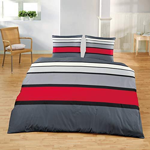 Bierbaum Bettwäsche 4757, Mako-Satin, Made in Germany, rot 63, 240x220 + 2x 80x80 cm, für das Doppelbett