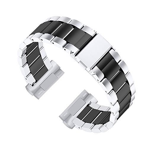 XIALEY Correas De Metal Compatible con Fitbit Versa 3 / Fitbit Sense, Bandas De Repuesto De Acero Inoxidable para Hombres Y Mujeres Compatibles con Versa 3 / Sense,A