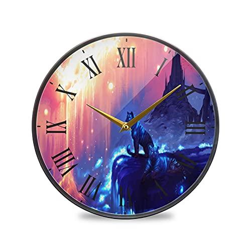 Tigre Arte Reloj de Pared Silencioso Decorativo Relojs para Niños Niñas Cocina Hogar Oficina Escuela Decoración