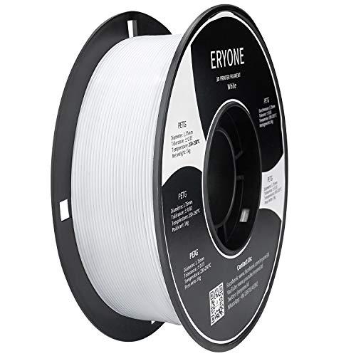 Filament 1.75mm PETG Blanc,PETG Filament ERYONE pour Imprimante 3D,1KG, 1Bobine(Blanc)