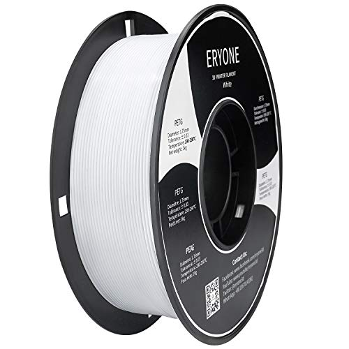 Filament PETG 1,75mm Weiß, ERYONE PETG Filament for 3D-Drucker und 3D-Stift, 1 kg 1 Spool