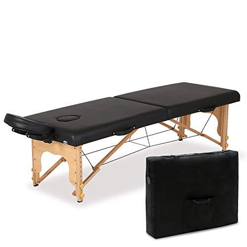 RTYUIO Mesa de Masaje portátil Cama de pestañas Ajustable Cama de Masaje de 2 Pliegues Cama de SPA Profesional Facial con Bolsa de Transporte y Accesorios