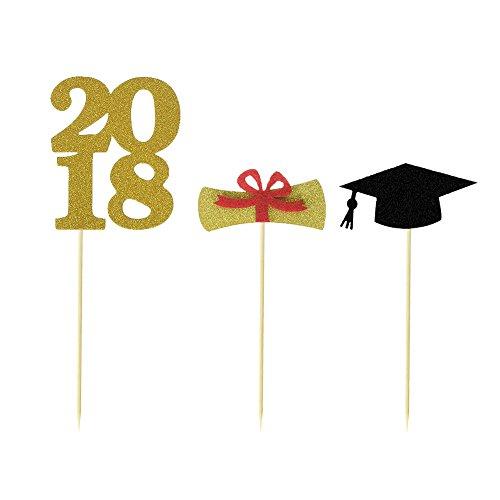 30 stuks Graduate cupcake topper/2018 eindexamenfeest/2018 eindexamentjes.