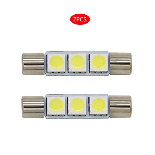 FLYPIG SUPER BRIGHT White Vanity LED Light bulbs Mirror Fuse Sun Visor 3-SMD 6641 (A Pair)