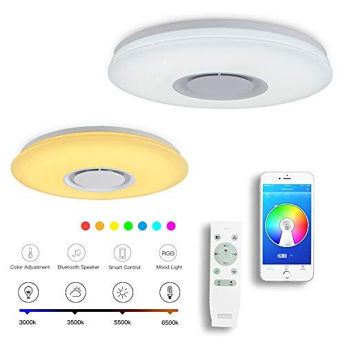 CHYSONGOODS 48W 50CM 19.7 Inch Rund Deckenleuchte LED Mit Bluetooth Lautsprecher App Fernbedienung Dimmbar Farbwechsel Deckenlampe Schlafzimmer Bad Wohnzimmer