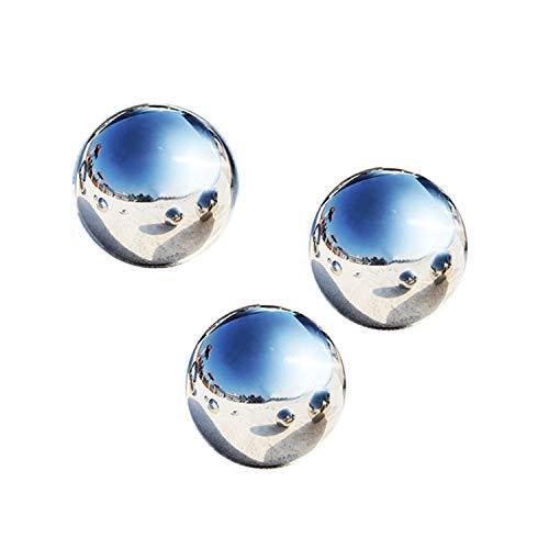LANUCN Groß Gartenkugeln Rasen Spiegelkugel Silber Edelstahl für Partydekoration Metallgarten-Kugeln (10cm x 3pcs)