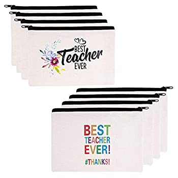 Teacher Gifts 8 Pieces Makeup Pouch Cosmetic Bag Travel Toiletry Case Pencil Bag with Zipper for Christmas Holiday Teacher Appreciation Gift Bulk Best Teacher Ever