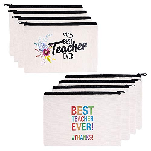 Teacher Gifts, 8 Pieces Makeup Pouch Cosmetic Bag Travel Toiletry Case Pencil Bag with Zipper for Christmas Holiday Teacher Appreciation Gift Bulk, Best Teacher Ever