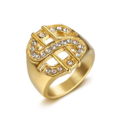 Lee Island Fashion 24K Gold Plated Simmulated Diamond CZ Fully Dollar Sign Stainless Steel Ring for Men-Hip Hop Jewelry Gift