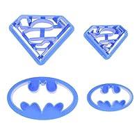 バットマンとスーパーマンのツーピースクッキークッキーフォンダンキャンディーアートカッティングダイセット4個セット