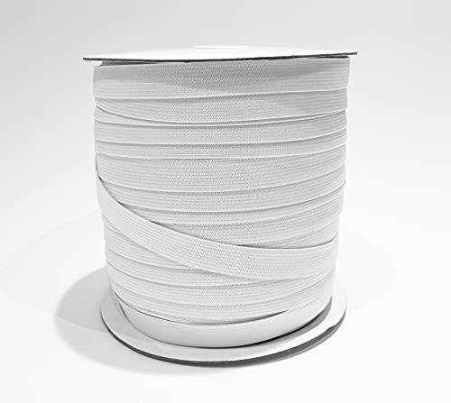 100M Bandas elásticas costura planas fina , total 5 medidas,,para que los clientes tengan diferentes opciones, adecuadas para ropa interior, fundas de sofá. Máscaras, etc.,.blanco (15mmX100M, 101).
