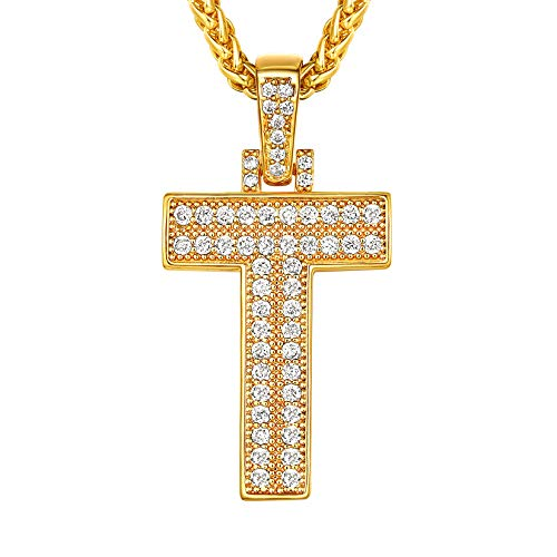 Suplight Bling Diamond Initial Letter Pendant, Bling T Necklace for Men, Hip Hop Jewelry Tennis Letters Pendant Chain Iced Out, 18K Gold Plated Cubic Zirconia Mens Alphabet Necklace A-Z