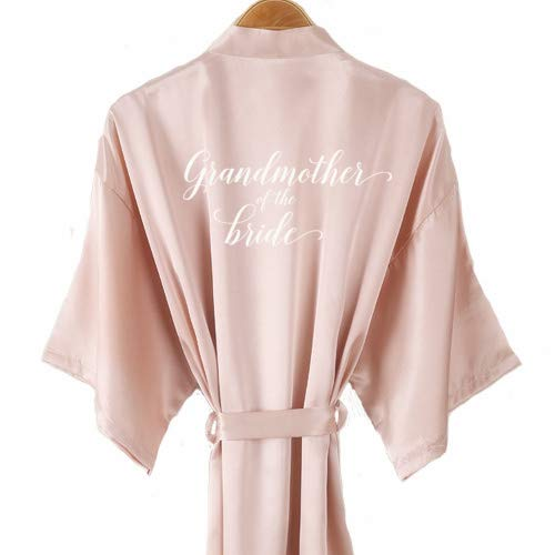 neue Champagner Bademantel Braut Satin-Seide Robe Frauen Brautparty Schwester Team Mutter Dusche Geschenk Brautjungfer Hochzeit kurze Roben-grandmother bride-1-XL