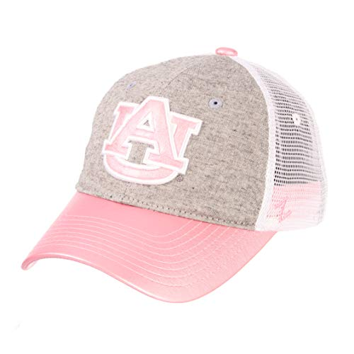 NCAA Zephyr Auburn Tigers womens Sasha Relaxed Hat, Adjustable, White/Pink/Grey