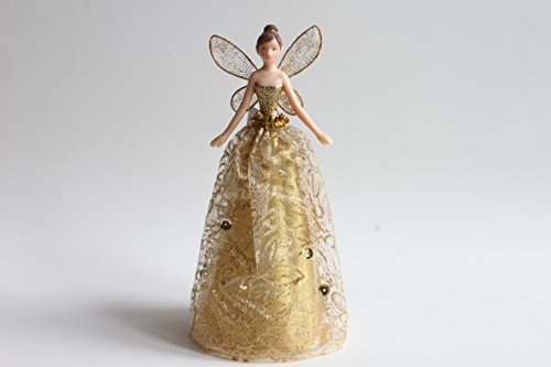 Gold Angel Christmas Tree Topper with Patterned Skirt (18cm)