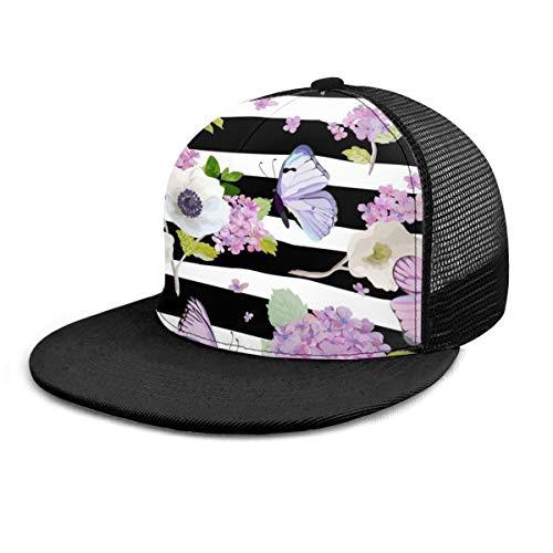FONDSILVER Gorra de béisbol de algodón con diseño de flores, color blanco y negro a rayas con diseño de mariposas, para hombres y mujeres, gorra plana de camionero ajustable, gorra de malla lisa, para niños y niñas