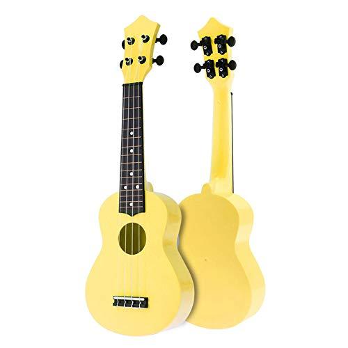 E-Gitarre, 21-Zoll-Bunte Acoustic Ukulele 4-Saiter Hawaii-Gitarre, Kinder und Musik, Multi-Color Optional, Ideal für Musik Anfänger,Gelb