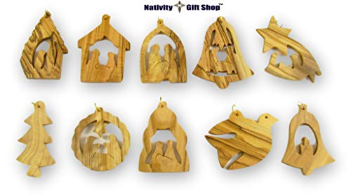 Nativity Gift Shop Handmade Olive Wood Ornaments (10 Pack)