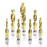 Accesorios de herramientas Conjunto de bits de perforación de tapón de contenedor de 8pcs HSS, combinación hexagonal de titanio Tornillo de titanio Taladro de grifo métrico para madera de plástico de