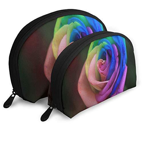 Trousse de Maquillage Organisateur de Toilette portatif Shell Roses Arc en Ciel pour Les Vacances des Femmes 2 Pack