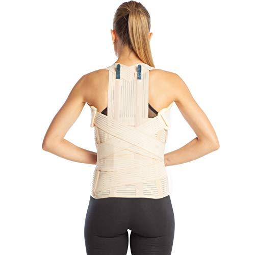Corrector de postura, corrector espalda ortopédica de grado médico, tallas pequeña, mediana, grande, XL y XXL. Apoyo inferior y superior de la espalda (M (80-90 cm), beige)