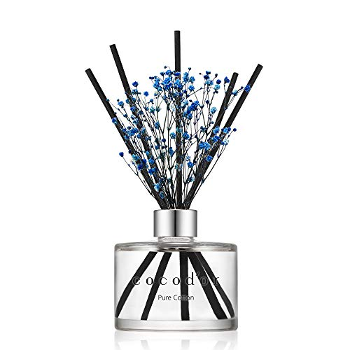 Cocodor Preserved Real Flower Reed Diffuser / Pure Cotton / 6.7oz(200ml) / 1 Pack / Reed Diffuser Set, Oil Diffuser & Reed Diffuser Sticks, Home Decor...