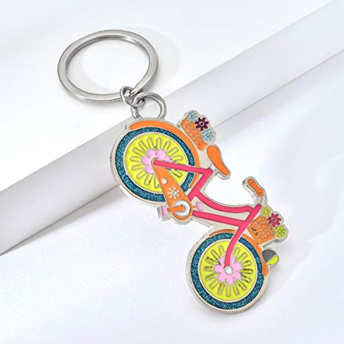 guodong Cute Bicycle Keychain Colorful Bike Keyring For Women Bag Charm Bling Key Chain Fashion Jewelry 3D Key Gift For Friend