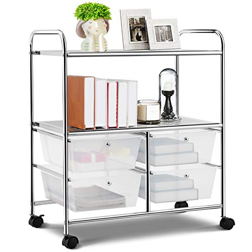 RELAX4LIFE Storage Cart W/Four Drawers, Wheels and Two Shelves, Stable Steel...