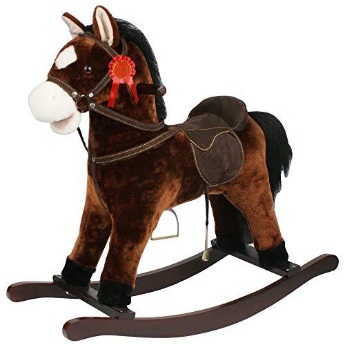 Sport1-Cavallo a Dondolo Rodeo in Legno e Morbido Tessuto con Effetti Sonori, Colore Marrone Scuro