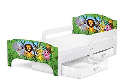 Leomark SMART Kleinkinderbett aus Holz - Tiere - Kinderbett mit Schubladen für Bettwäsche, Einzelbett mit Matratze, Stauraum, Rausfallschutz Lattenrost, Liegefläche 140 x 70 cm, UV-Druck